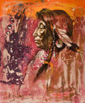 Fine Art - Painting, American:Contemporary   (1950 to present)  , The Collection of Paul Gregory and Janet Gaynor. O.E.L.GRAVES (American, 1897-1971). Yellow Thunder, Blackfoot.O...