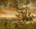 Fine Art - Painting, American:Contemporary   (1950 to present)  , The Collection of Paul Gregory and Janet Gaynor. O.E.L.GRAVES (American, 1897-1971). Attack at Dawn. Oil oncanva...