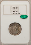 Seated Quarters: , 1876 25C MS64 NGC. CAC. NGC Census: (71/66). PCGS Population(111/67). Mintage: 17,817,150. Numismedia Wsl. Price for probl...