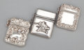 Silver Smalls:Match Safes, A GROUP OF THREE SILVER MINIATURE MATCH SAFES . Maker unknown,probably American, circa 1900. Marks: G, Sterling. 1-1/4 ...(Total: 3 Items)