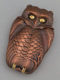 Silver Smalls:Match Safes, A BRONZED OWL-FORM MATCH SAFE WITH BRASS HIGHLIGHTS . Makerunknown, probably American, circa 1880. Unmarked. 2-1/4 inches h...
