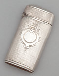 Silver Smalls:Match Safes, A CONTINENTAL SILVER MATCH SAFE . Maker unknown, probably French,circa 1890. Marks: (double boar's head), (C-hatchet-H). 2-...