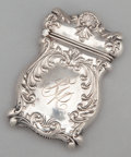 Silver Smalls:Match Safes, AN AMERICAN SILVER REPOUSSÉ MATCH SAFE . Maker unknown, probablyAmerican, circa 1900. Marks: STERLING. 2-3/8 inches hig...