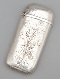 Silver Smalls:Match Safes, AN AMERICAN SILVER MATCH SAFE. Maker unknown, probably American,circa 1890. Marks: STERLING, F. 2-1/8 inches high (5.4 ...