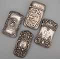 Silver Smalls:Match Safes, A GROUP OF FOUR AMERICAN SILVER MATCH SAFES . Maker unknown,probably American, circa 1900. Marks: STERLING, G. 2-1/2in... (Total: 4 Items)