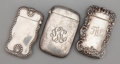Silver Smalls:Match Safes, A GROUP OF THREE AMERICAN SILVER MATCH SAFES . WatrousManufacturing Company, Wallingford, CT, circa 1900. Marks:(crescent-... (Total: 3 Items)