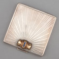 Silver Smalls:Other , A SILVER, GOLD AND SAPPHIRE COMPACT . Tiffany & Co., New York,New York, circa 1925. Marks: TIFFANY & CO., STERLING,14K...