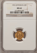 Commemorative Gold: , 1903 G$1 Louisiana Purchase/Jefferson MS62 NGC. NGC Census:(170/1708). PCGS Population (214/2745). Mintage: 17,500. Numism...