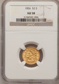 Liberty Quarter Eagles: , 1856 $2 1/2 AU58 NGC. NGC Census: (160/304). PCGS Population(60/165). Mintage: 384,240. Numismedia Wsl. Price for problem ...