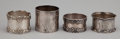 Silver Holloware, American:Napkin Rings, A GROUP OF FOUR AMERICAN SILVER NAPKIN RINGS . Tiffany & Co.,New York, New York, circa 1902-1907. Marks: TIFFANY & CO.,M... (Total: 4 Items)