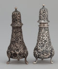 Silver Holloware, American:Other , AN AMERICAN SILVER REPOUSSÉ SALT AND PEPPER SHAKER SET . J.E.Caldwell, Philadelphia, Pennsylvania, circa 1900. Marks: J.E...(Total: 2 Items)