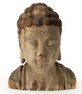 Asian, THE COLLECTION OF PAUL GREGORY AND JANET GAYNOR. A LARGE CHINESECARVED WOOD HEAD OF BUDDHA. China. 20 inches (50.8 cm). ...
