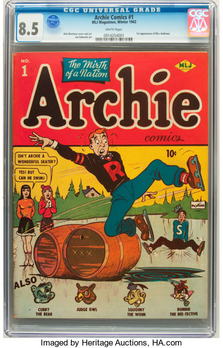 Archie Comics #1 (MLJ, 1942) CGC VF+ 8.5 White pages....
