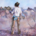 Fine Art - Painting, American:Contemporary   (1950 to present)  , The Collection of Paul Gregory and Janet Gaynor. JACK BAKER(American, b. 1925). Cowboy with Lasso. Oil on canvas...