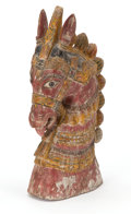 Asian:Other, The Collection of Paul Gregory and Janet Gaynor. A BURMESECARVED AND PAINt-DECORATED HORSE HEAD . Burma. 16 inches ta...
