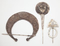 African, THE COLLECTION OF PAUL GREGORY AND JANET GAYNOR. ACOLLECTION OF THREE (3) AFRICAN SILVER METAL ORNAMENTS ... (Total:3 Items)