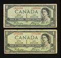 Canadian Currency: , BC-29b $1 Devil's Face Portrait Two Examples.. ... (Total: 2 notes)