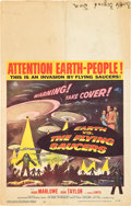 """Movie Posters:Science Fiction, Earth vs. the Flying Saucers (Columbia, 1956). Window Card (14"""" X22"""").. ..."""