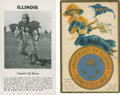 Football Cards:Singles (Pre-1950), Vintage University of Illinois Football Collectibles Pair (2). ...