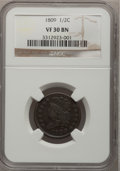 1809 1/2 C VF30 BN NGC. NGC Census: (8/377). PCGS Population (13/190). Mintage: 1,154,572. Numismedia Wsl. Price for pro...