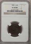 1809 1/2 C VF20 BN NGC. NGC Census: (9/393). PCGS Population (8/210). Mintage: 1,154,572. Numismedia Wsl. Price for prob...