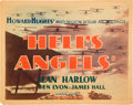 "Movie Posters:War, Hell's Angels (United Artists, 1930). Title Lobby Card (11"" X14"").. ..."