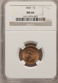 1860 1C MS66 NGC. NGC Census: (37/3). PCGS Population (35/8). Mintage: 20,566,000. Numismedia Wsl. Price for problem fre...