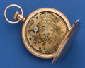 Timepieces:Pocket (pre 1900) , Swiss 14k Gold 55 mm Key Wind Hunter's Case With Unusual FancyCarved (Royal Crest Movement Plates). ...