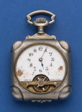 Timepieces:Pocket (post 1900), Swiss Large Square Exposed Balance Pocket Watch For Restoration. ...
