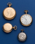 Timepieces:Pocket (post 1900), Four Antique Pocket Watches - 3 Gold Filled & 1 Silver Swiss.... (Total: 4 Items)