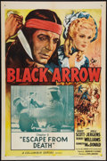 "Movie Posters:Serial, Black Arrow (Columbia, R-1955). One Sheet (27"" X 41""). Chapter 9 --""Escape from Death."" Serial.. ..."