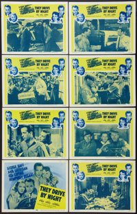 """They Drive by Night (Warner Brothers, R-1956). Lobby Card Set of 8 (11"""" X 14""""). Drama. ... (Total: 8 Items)"""