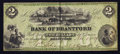 Canadian Currency: , Brantford, CW- Bank of Brantford $2 Nov. 1, 1859 Ch. # 40-10-02-04....