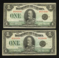 Canadian Currency: , DC-25n $1 1923. Two Examples.. ... (Total: 2 notes)