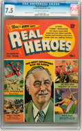 Golden Age (1938-1955):Non-Fiction, Real Heroes Comics #1 (Parents' Magazine Institute, 1941) CGC VF-7.5 Off-white to white pages. ...
