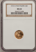Commemorative Gold: , 1915-S G$1 Panama-Pacific Gold Dollar MS65 NGC. NGC Census:(725/586). PCGS Population (1173/774). Mintage: 15,000. Numisme...