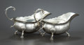 Silver Holloware, British:Holloware, A PAIR OF GEORGE II SILVER SAUCE BOATS . Thomas Smith, London,England, circa 1750-1751. Marks: (lion passant), (leopard's h...(Total: 2 Items Items)