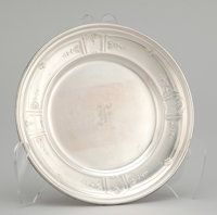 A SET OF SIX AMERICAN SILVER DESSERT PLATES Gorham Manufacturing Co., Providence, Rhode Island, circa 1900 Ma