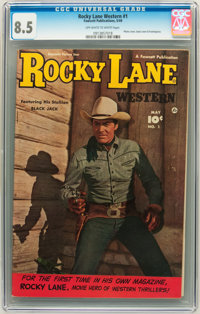 Rocky Lane Western #1 (Fawcett, 1949) CGC VF+ 8.5 Off-white to white pages