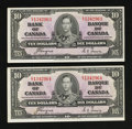 Canadian Currency: , BC-24c $10 1937. Two Examples.. ... (Total: 2 notes)