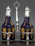 Silver Holloware, Continental:Holloware, A DUTCH SILVER VINEGAR & OIL STAND WITH TWO ASSOCIATED GILTCOBALT GLASS AND SILVER BOTTLES . Maker unidentified, Amsterdam,...