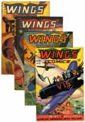 Golden Age (1938-1955):War, Wings Comics Group (Fiction House, 1945-50).... (Total: 4 ComicBooks)