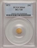 California Fractional Gold: , 1873 25C Liberty Octagonal 25 Cents, BG-728, R.3, MS64 PCGS. PCGSPopulation (47/67). NGC Census: (6/14). (#10555)...