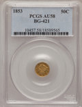 California Fractional Gold: , 1853 50C Liberty Round 50 Cents, BG-421, R.4, AU58 PCGS. PCGSPopulation (18/83). NGC Census: (3/9). (#10457)...