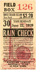 Baseball Collectibles:Tickets, 1939 Lou Gehrig Ticket Stub from Game After He AnnouncedRetirement....