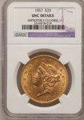 Liberty Double Eagles, 1857 $20 --Improperly Cleaned--NGC Details. Unc....