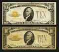 Small Size:Gold Certificates, Fr. 2400 $10 1928 Gold Certificates. Two Examples.. ... (Total: 2 notes)