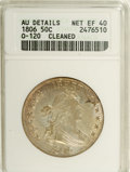Early Half Dollars: , 1806 50C Pointed 6, Stem--Cleaned--ANACS. XF40 Details. O-120, R.3.Lightly worn and suspiciously bright with a trace of or...