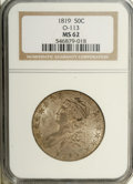 Bust Half Dollars: , 1819 50C MS62 NGC. O-113, R.1. Deep cream-gray, aqua, and apricotshadings enrich this gently shimmering Capped Bust half. ...