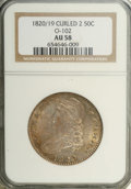 Bust Half Dollars: , 1820/19 50C Curl Base 2 AU58 NGC. O-102, R.1. Any 1820 Half Dollarenjoys great popularity as an early issue with one of th...